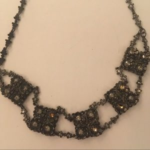 Silver and marquesite choker necklace